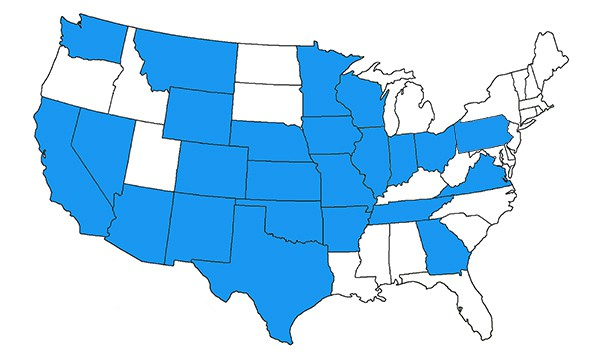 Map showing 23 states Sherpa Fiber's team members have experience