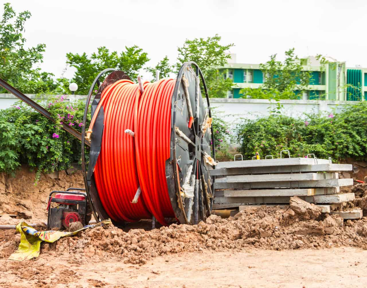 fiber reel at construction site